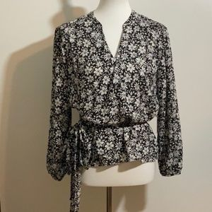 1. State Black and White Floral Wrap Top Small NEW
